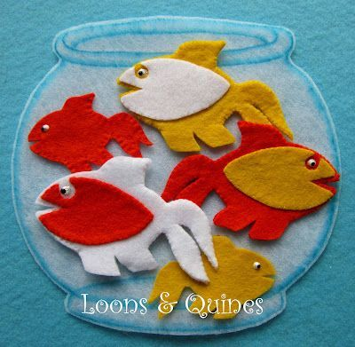 Felt goldfish and Five Little Goldfish song. Pattern included.