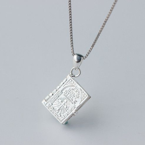 Holly Bible 925-sterling-silver Necklaces & Pendants | Book Page Charms Sterling-silver-jewelry Power Necklace Christian Gifts