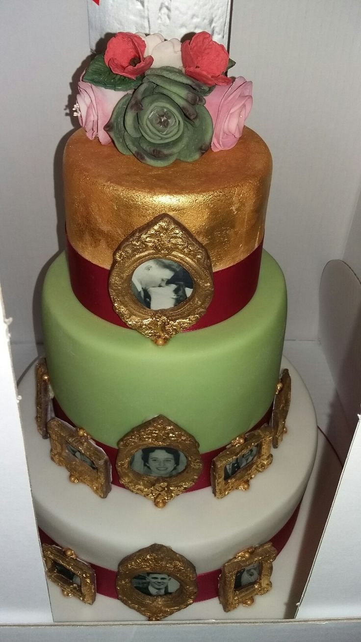 Anniversary cake, gold leaf, edible picture frames and photographs, 3 tiers, fondant flowers bouquet by Danielle Smith ( Rockylicious Cakes )