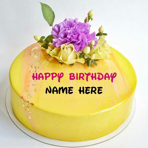 Pineapple birthday name cake with flower on it,Happy birthday wishes