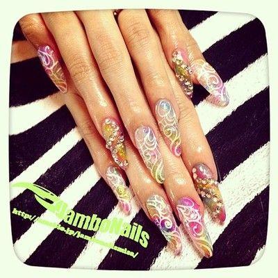 ティンカーベル♪(´ε` ) エアブラシアート! スカベース ¥16800- #nail #nails #nailart #nailartclub #art #jambonails