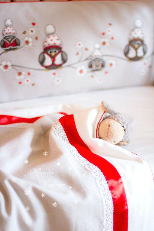 """""""Совушки"""" комплект в кроватку бампер одеяло простыня юбка (4 предмета) -"""