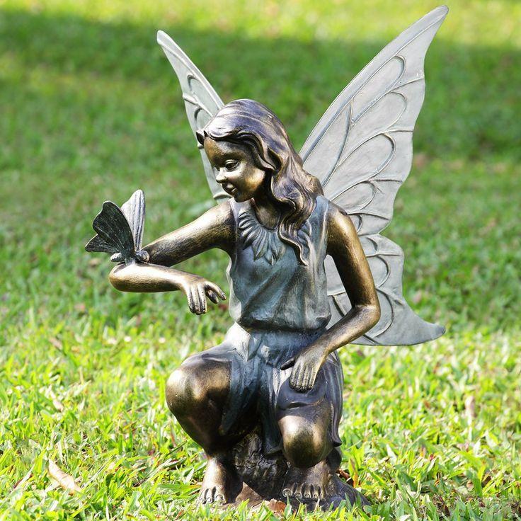 Fairy Girl U0026 Butterfly Grace Garden Sculpture Statue Metal ~ SPI Home