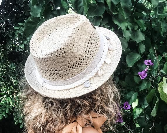 Pink fedora straw hat Boho accessory. Hippie sun hat