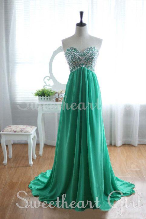 Green Chiffon Rhinestone Strapless Train Prom Dresses, Graduation Dress, Formal Dress $198