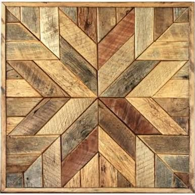 Reclaimed wood quilt square – 36 inch – Geometric wall art – Star pattern wall décor – Barnwood quilts – Country home – Large square artwork