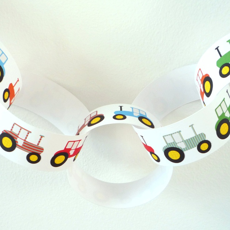 Tractor design paper chain garland - PDF printable party decorations. £2.50, via Etsy. © Kip & Fig 2012