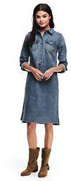 Lands' End Women's Long Sleeve Denim Shirt Dress-Octagon Blue Multi Floral