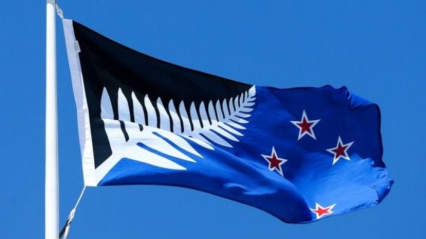 The Silver Fern (Black, White and Blue).  Choice of possible alternative from the results of the New Zealand flag referendum are in.
