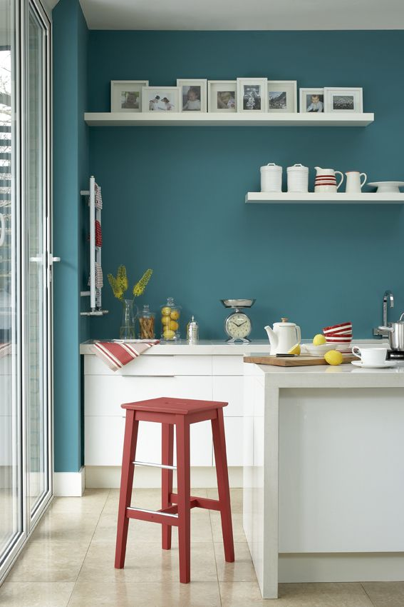 Painted kitchen in Little Greene paint colours 'Canton', 'Shirting' and 'Baked Cherry'