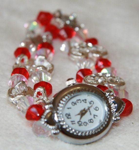 Red and white watch