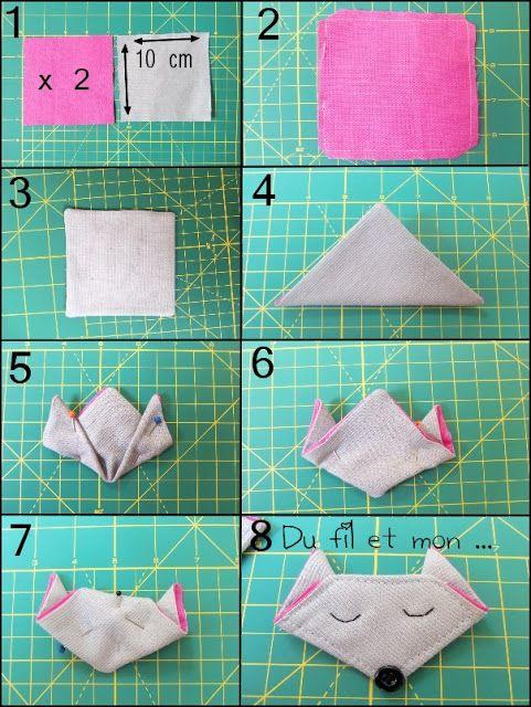 du fil et mon origami tissu renard chat sewing. Black Bedroom Furniture Sets. Home Design Ideas