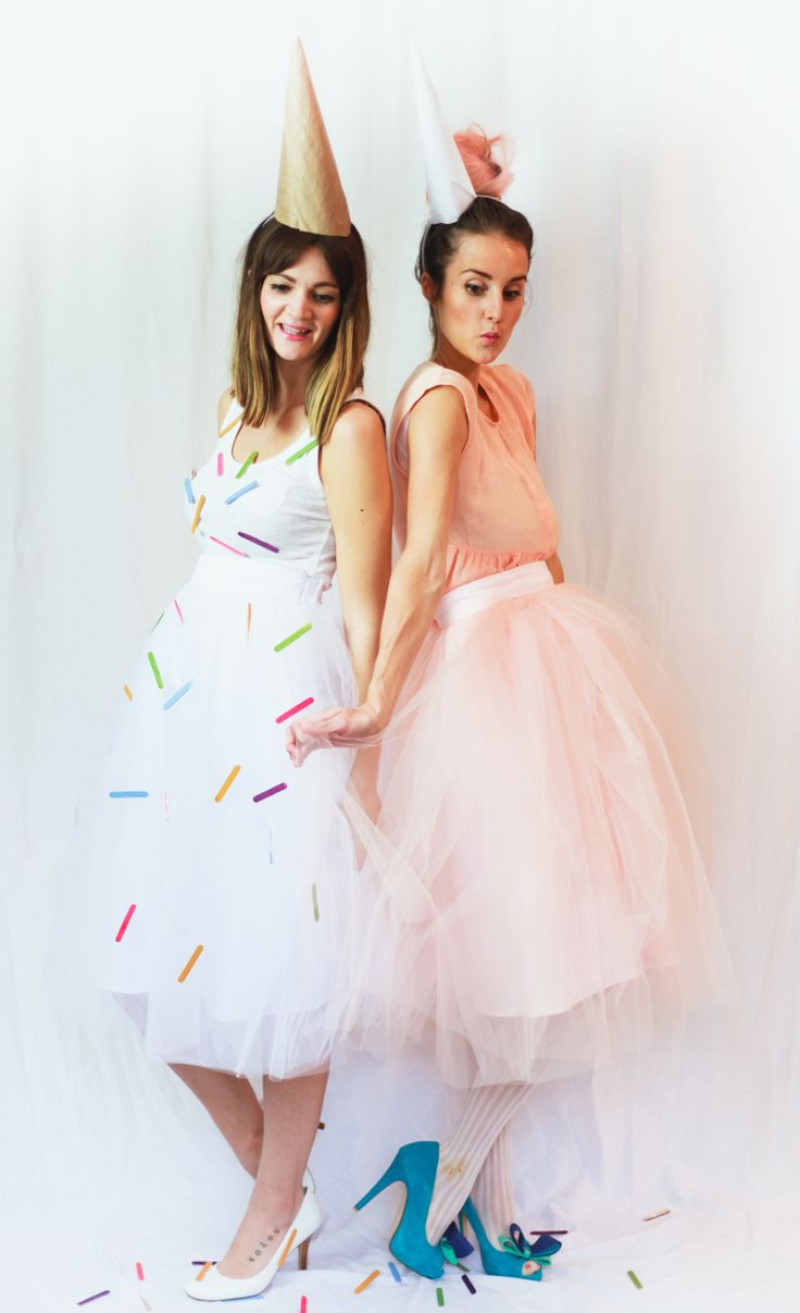 If you're anything like us you usually leave it to the day of Halloween to  start throwing together some sort of costume. So we decided to give you a  little inspiration! We put together a couple fun and cute costumes using  Shabby Apple's tulle Bloom skirts. There were so many ideas that went  around in our heads for these cute ballerina style skirts, but I love the  sweet treat inspired costumes we settled on.   To recreate this upside down Ice Cream Cone Costume you will need:  -White…