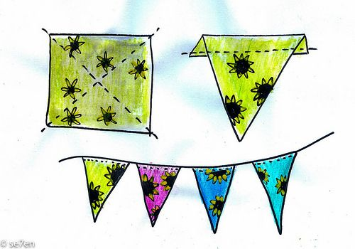 @se7en_hoods Endless Bandana Bunting: Cut your bandana into four triangles. Fold the base of each triangle over and stitch them to form a casing. Thread some ribbon or string through the casing and hang your bunting up… done!!!