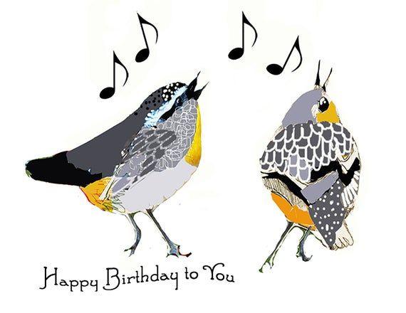 Little Birds Singing Birthday Greeting Card Celebration Songbirds Friends Happy Birthday To You Musical Notes Fantasy Birds Birthday Happy Birthday Birds Happy Birthday Music Singing Birthday Cards