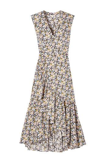 A midi wrap dress in floral cotton poplin -- Cotton poplin blooming with our Moonlight Garden floral is tailored into this waist-defining wrap dress, finished with a dramatic, cascading ruffle along the skirt.