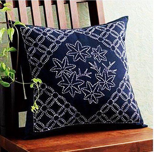 Sashiko Pillow Kit # 259 - Maple Leaves - Navy