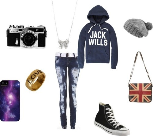 Untitled #176 by ana-iwuvmusic featuring a jack wills hoodie    Jack Wills hoodie / Skinny jeans, $24 / Black sneaker / Messenger bag, $48 / Pistil slouchy beanie / Tech accessory, $29