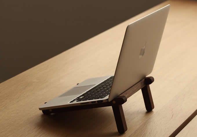Universal Wooden Cooling Stand Holder Bracket Dock For 11 15 6 Inches Macbook Ipad Tablet Notebook Bookshelf Design Wooden Pc Desk