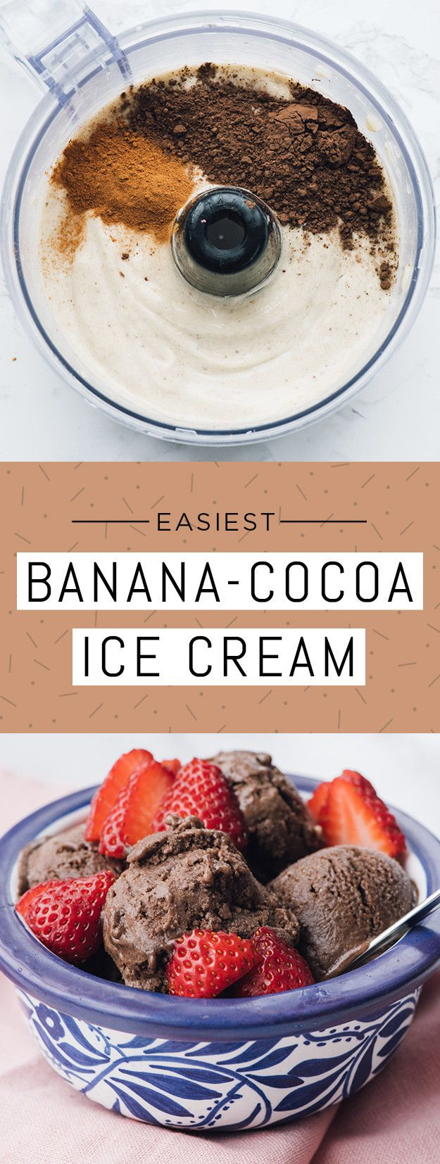 Ingredients: 4 bananas; 1–2 tablespoons unsweetened cocoa powder, depending on your taste; ¼ teaspoon ground cinnamon; strawberries to garnish. (Optional: This also tastes great with a small spoonful of peanut butter mixed into the batter.)To make: Slice bananas and place in an airtight container. Freeze for at least two hours, preferably overnight. Place frozen banana slices in a food processor and blend until they reach the consistency of soft serve, about 4 minutes. Add cocoa powder and…