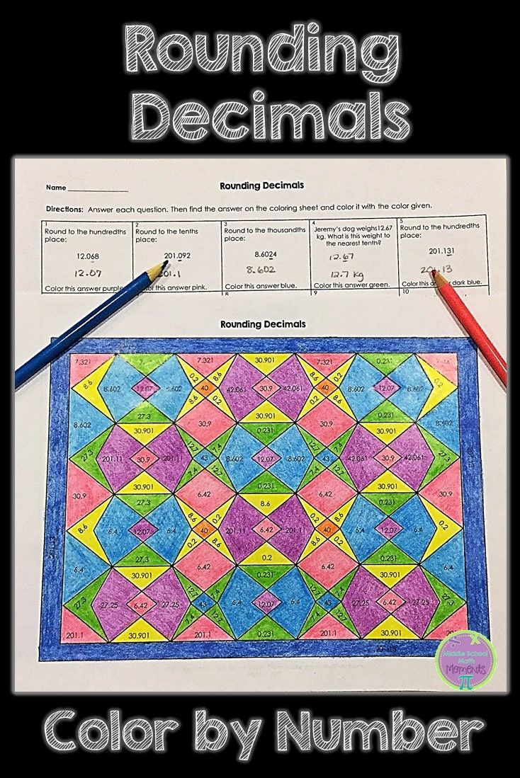 Fun coloring review of rounding decimals!