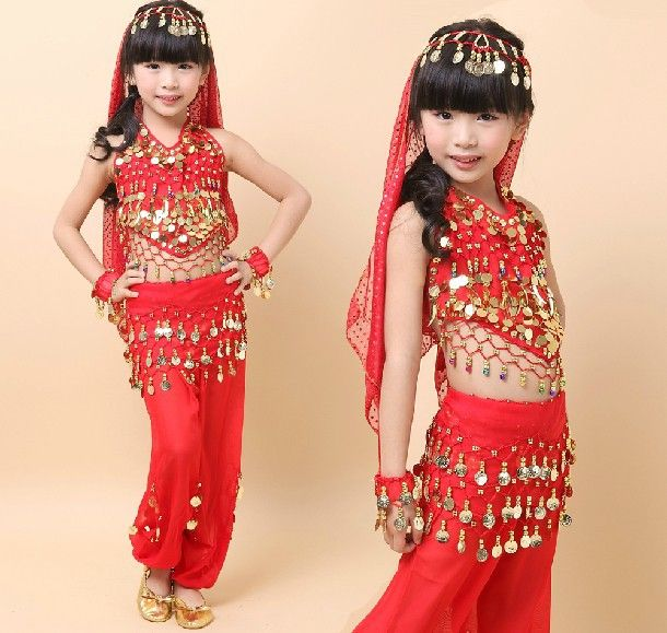 Bellydance костюм для девочек детей танец живота топ и болливуд танцевальные костюмы детей индийские платья одежда для танцев