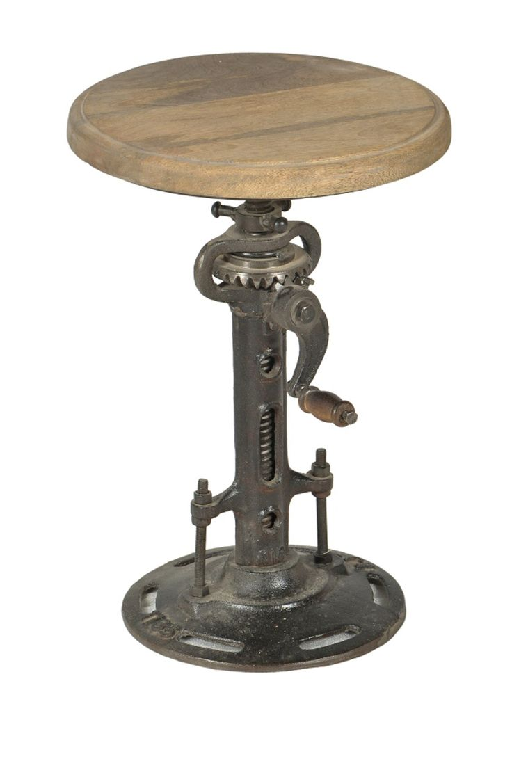 Double crank oval dining table at high fashion home industrial chic - Industrial Crank Stool