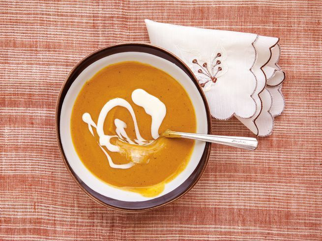 Green-skinned calabaza pumpkins, fiery Scotch bonnet peppers, and plenty of herbs and spices vividly flavor this Caribbean pumpkin soup.