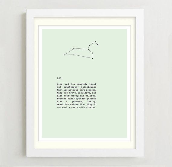 Leo Constellation Typography Print - Zodiac Sign Art - Wall Decor - Birthday Gift - Leo Sign Art