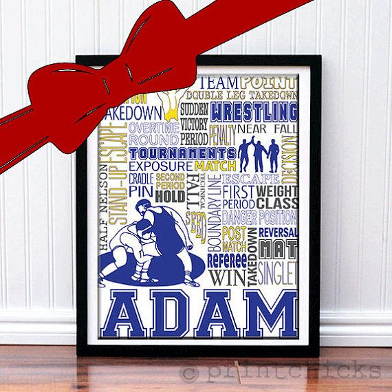 Wrestling Print - Typography Wrestling Poster Print - Custom Poster Wrestler - Wrestling Team Gift on Etsy, $22.00