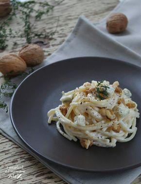 Spaghetti gorgonzola, yogurt e noci