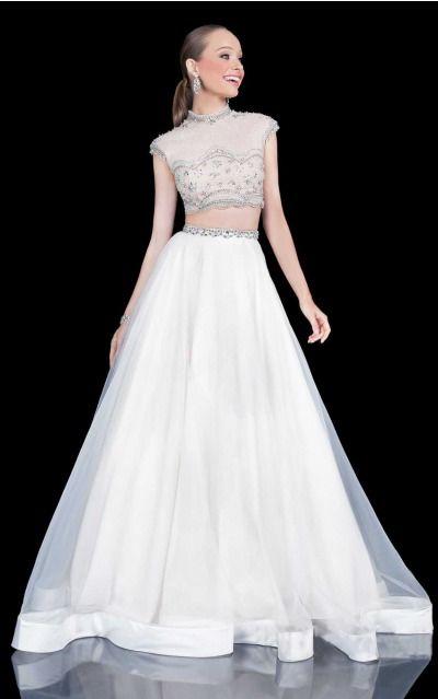Princess High Neck Natural Cap Sleeves Floor-length Prom Dresses