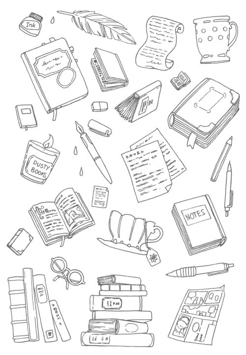 whimsical coloring card for book lovers readers writers and planner addicts - Free Coloring Books By Mail