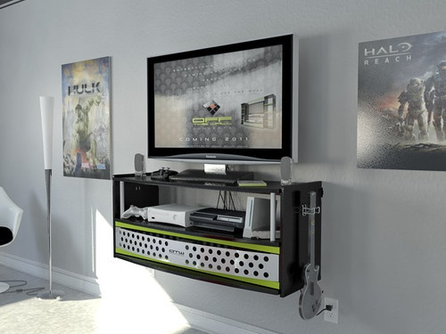 Wall Mounted Media Console Gaming Tv Stand Black