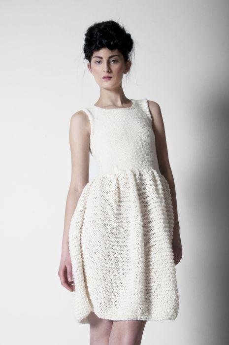 Smetanové pletené šaty - MIK