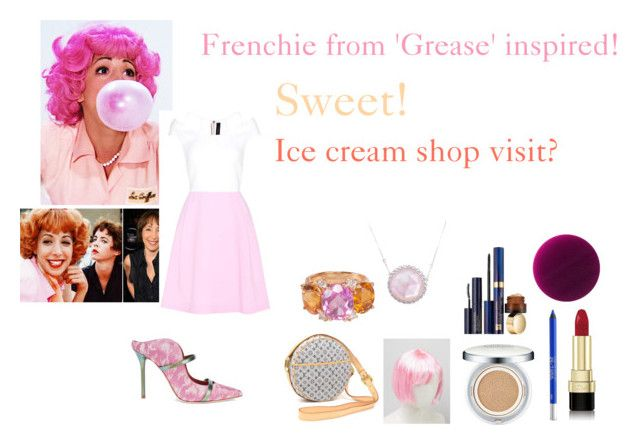 """""""For Scarlett (friend) - Scarlett's ideal wardrobe by me: #428: Frenchie from 'Grease' film!"""" by sarah-m-smith ❤ liked on Polyvore featuring Roland Mouret, Malone Souliers, Louis Vuitton, Laura Munder, Christina Addison, Sulwhasoo, Estée Lauder, Urban Decay, Dolce&Gabbana and Burberry"""