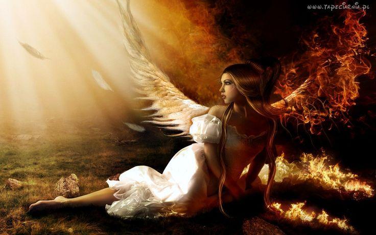 Dziewczyna, Anioł, Pióra, Ogień