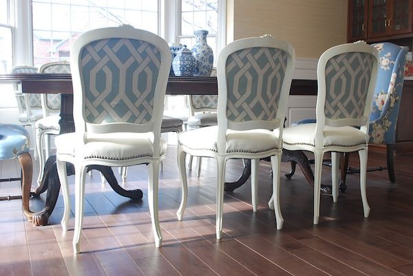 ... Craigslist Dining Chairs  painted and papered  Pinterest  Chairs