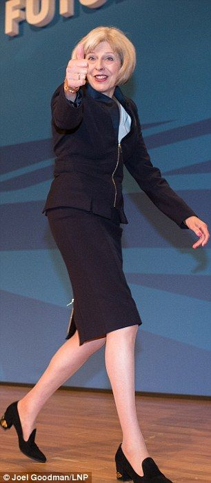 A confident pose...and a sensible heel at the Conservative Party Conference in Birmingham ...