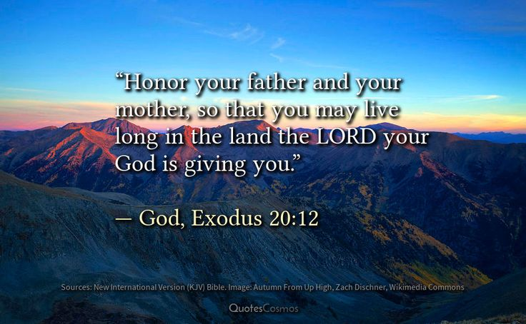 """Honor your father and your mother"" — God, Exodus 20:12  God gives the fifth commandment to Moses. God's commandment is this: respect your parents. The New International Version Bible says ""Honor your father and your mother, so that you may live long in the land the LORD your God is giving you.""  What does 'honor' mean? The original Hebrew word in the Holy Scripture is כַּבֵּ֥ד which means to make honorable. So we are to give great respect and esteem to our parents.  Among the Laws of God…"