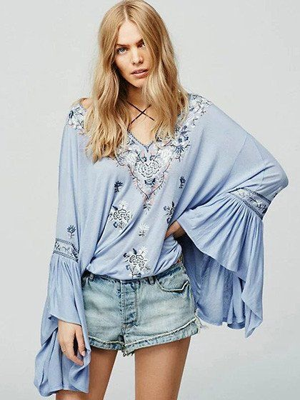 Blue Embroidery Tie Front Split Flared Sleeve Blouse - stayingsummer