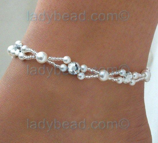 Cute idea--Rhinestone Pearl Anklet ✿⊱╮Teresa Restegui http://www.pinterest.com/teretegui/✿⊱╮