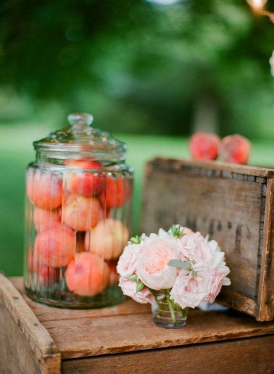 Peach Wedding Decor / http://www.deerpearlflowers.com/fruit-wedding-ideas/3/