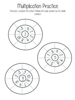 These wheels are not my idea, I had a teacher provide them to me using only 3 different digits. I have created this set of wheels to be used for 1-10 multiplication practice. This is a great bellwork or homework for students to have multiple experiences with the same facts.