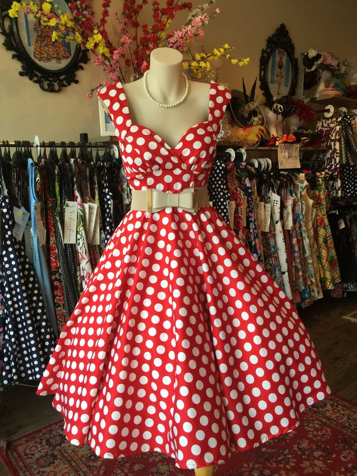 Red and White Spots Vintage Style Dress Made in Australia  Love Minnie Shell Cut – GiGi's Fairy Fashion