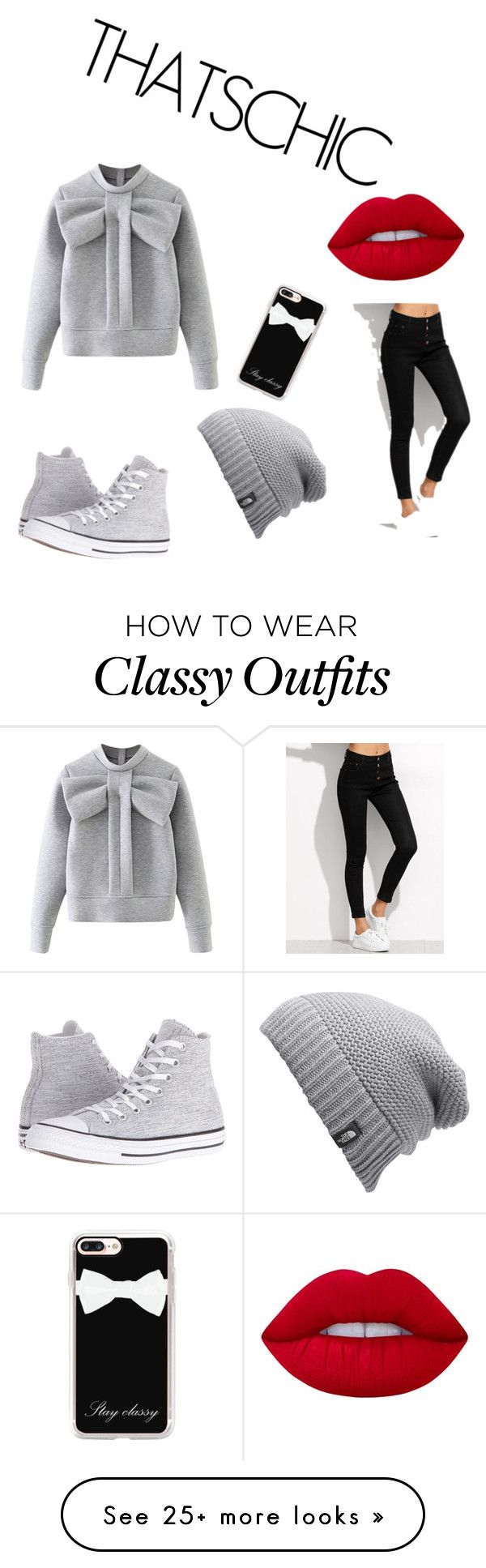 """chic casual"" by mythzard-thelisma on Polyvore featuring WithChic, Converse, Casetify, The North Face and Lime Crime"