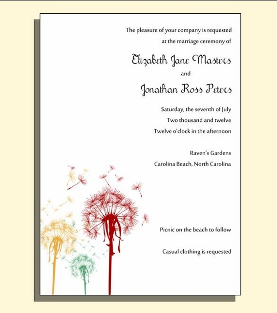 dandelion wedding invitation wedding invitations pinterest
