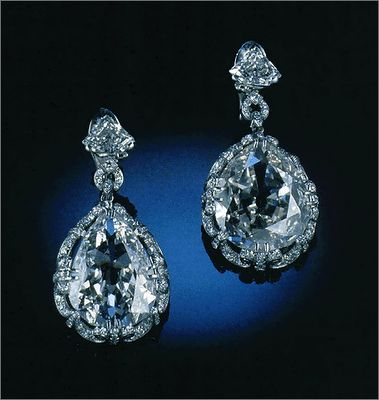 Marie Antoinette Diamond Earrings  These two large, pear-shaped diamonds weigh 14.25 and 20.34 carats respectively. They once were supposedly set in earrings that belonged to Marie Antoinette.