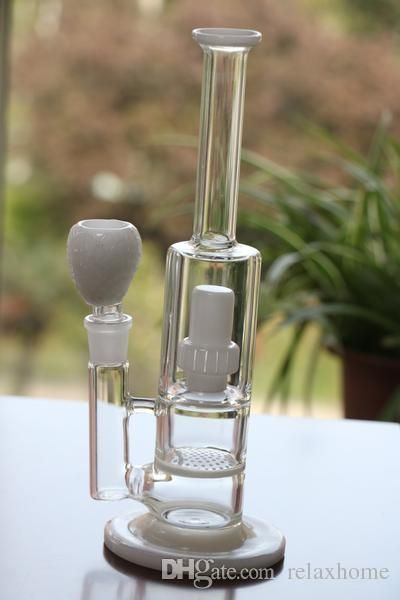White Marble Beaker Water Bongs Glass 18.8mm Recycler Bonhs Oil Rigs Honeycomb…