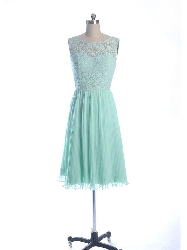 Lace And Chiffon Bateau Neck Mint Green Bridesmaid Dress